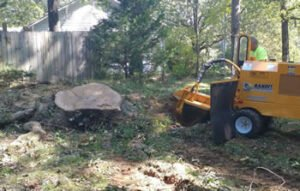 yellow stump grinder being used to grind the remains of a tree stump