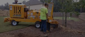 yellow machine grinding the remain of a tree stump